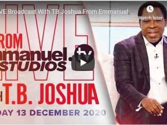 Prophet TB Joshua Sunday Live Service December 13 2020