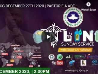 RCCG Sunday Live Service December 27 2020