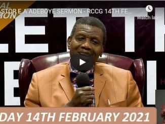 RCCG Sunday Live Service February 14 2021