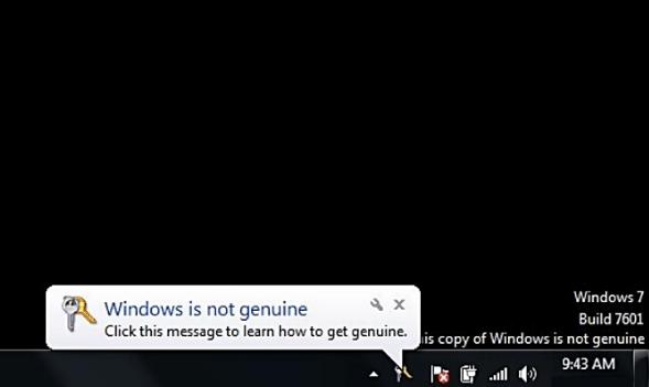 Notification screen: Windows is not genuine for window 7.