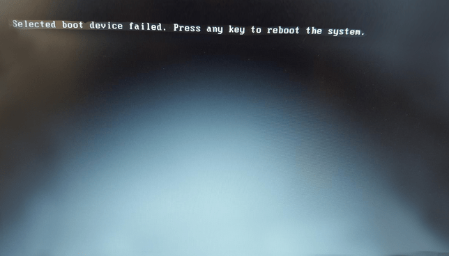 selected boot device failed