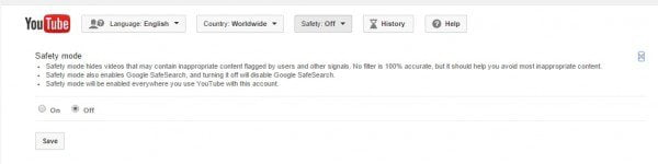 YouTube Safety feature