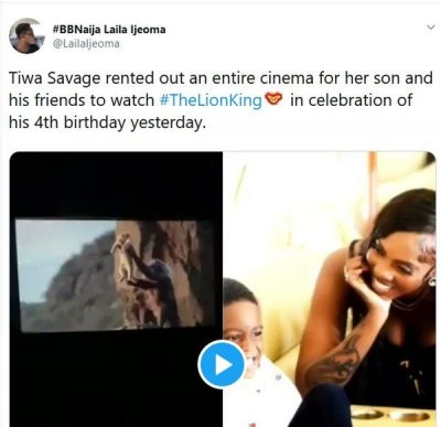 tiwa savage and her son - Tiwa Savage Rents A Whole Cinema For Her Son To Watch The Lion King