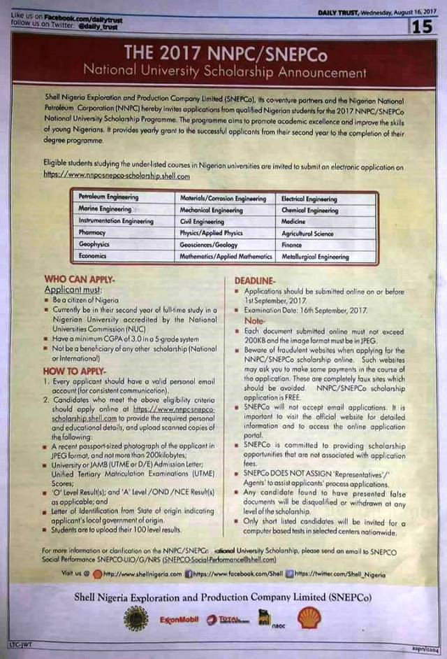 NNPC SNEPco Scholarship August 2017