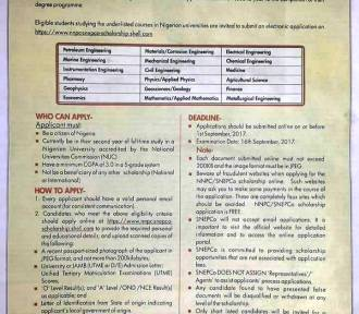 NNPC/SNEPCo 2017 National University Scholarship