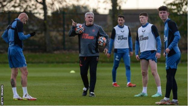 Steve Bruce takes Newcastle training