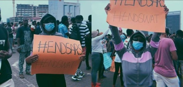 See How Cuppy Disguised To #EndSars Protest At Lekki On Friday (PHOTOS)