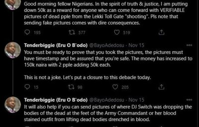 GOOD ONE!!! Man Offers N1.2M Reward To Anyone With Evidence Of Casualties From The Recent Lekki Shooting