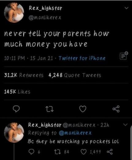 """RIGHT OR WRONG?? """"Never Tell Your Parents How Much Money You Have"""" – Twitter User Says"""