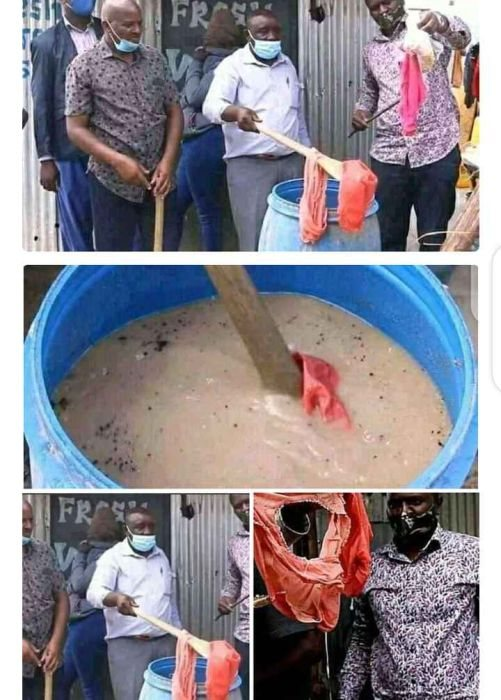 WAHALA!! Lady Caught Using Her Used Pants To Make Kunu For The Public (See Photos)