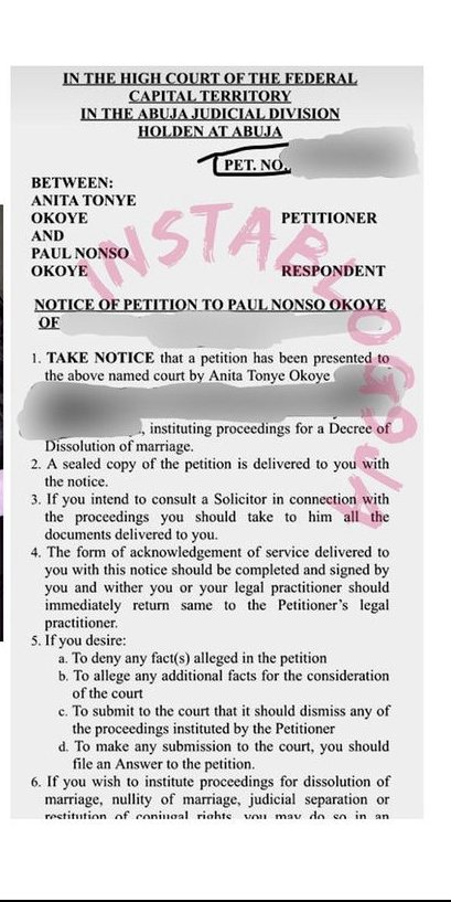 PSquare Star Paul Okoye and Wife's Divorce Papers Leaked