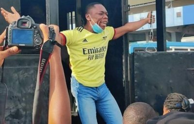 """""""Let The World Watch': Protester Screams As Police Arrest Him In Lagos (Pix, Video)"""