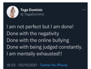 BBNaija: I'm mentally exhausted – Tega cries out, deactivates Instagram account