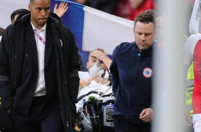 The match among Denmark and Finland has been suspended after Christian Erikson imploded on the pitch