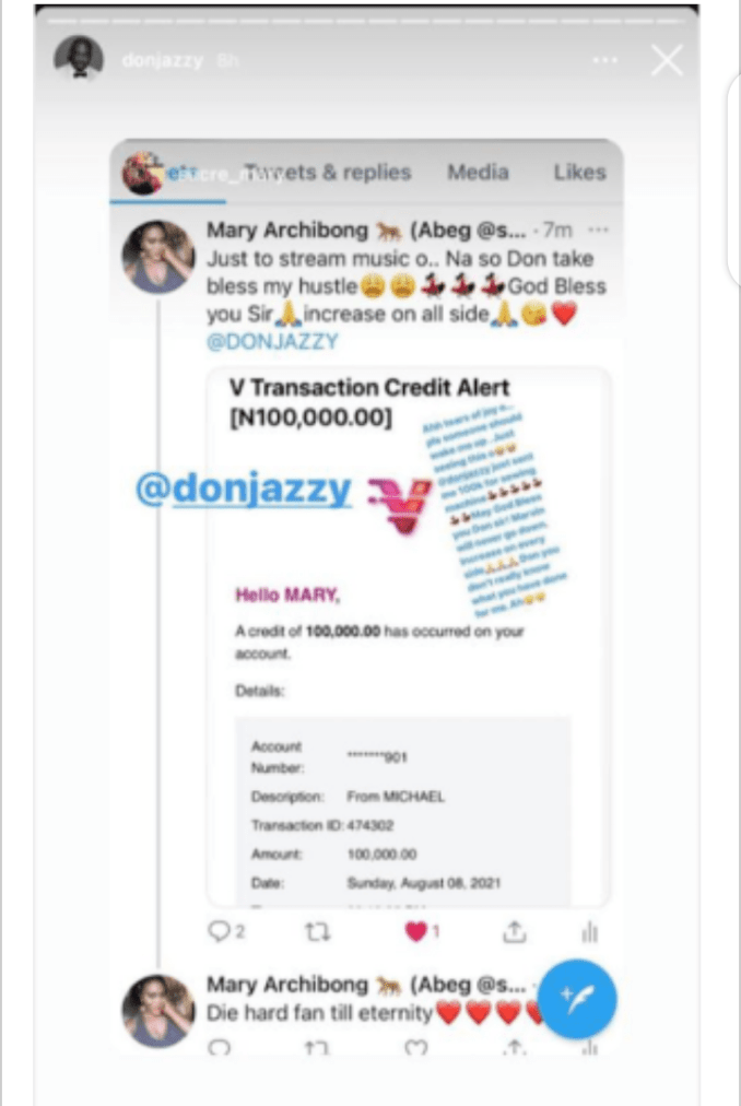 Celebrity News: Don Jazzy present 5 humans 100k every for listening to Arya Starr debut album