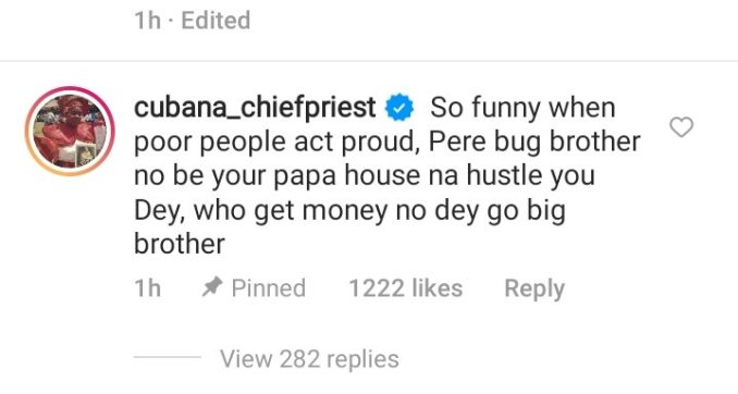 """""""Pere big brother no be your papa residence na hustle you Dey"""" Cubana Chief priest confronts Pere over his conflict with Whitemoney"""