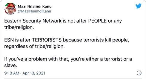 BIAFRA: Anyone Against Eastern Security Network (ESN) is a Terrorist – Nnamdi Kanu