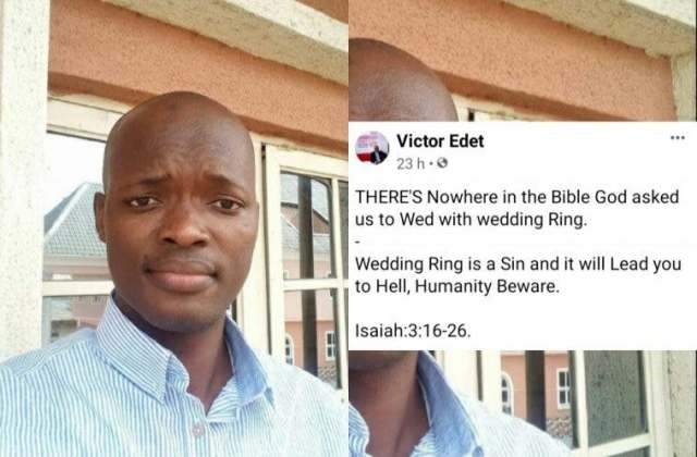 Wedding ring is a sin and it will lead you to hell – Evangelist warns