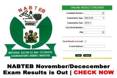 NABTEB GCE Nov/Dec Results