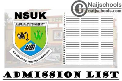 Nasarawa State University Keffi (NSUK) Part-Time B.Sc. Degree Admission List for 2019/2020 Academic Session | CHECK NOW