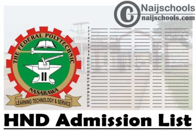 Federal Polytechnic Nasarawa First Batch HND Admission List for 2020/2021 Academic Session | CHECK NOW