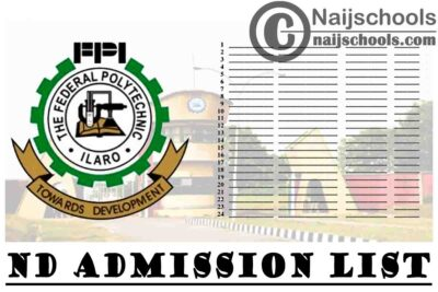 Federal Polytechnic Ilaro (ILAROPOLY) ND Full-time First & Second Batch Admission List for 2020/2021 Academic Session   CHECK NOW