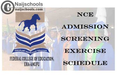 Federal College of Education (FCE) Eha-Amufu 2020/2021 NCE Batch B Admission Screening Exercise Schedule   CHECK NOW