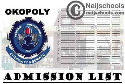 Federal Polytechnic Oko (OKOPOLY) 2020/2021 Admission List is Now Out on JAMB CAPS | CHECK NOW