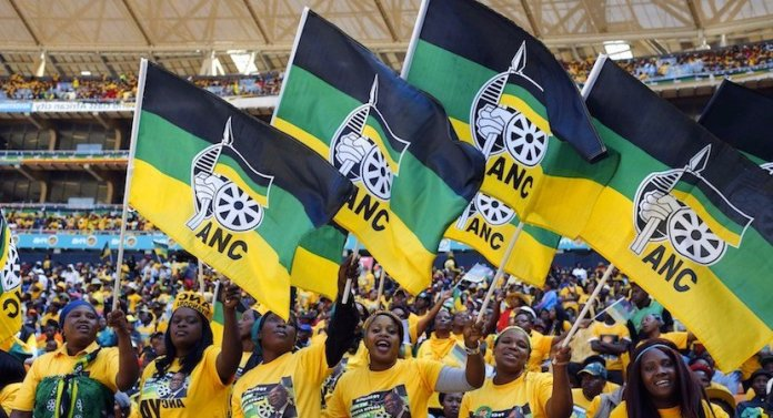 ANC supporters wave the party flag.