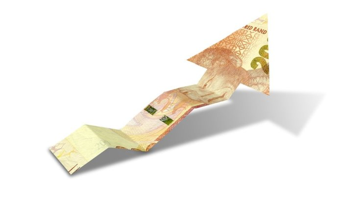 An arrow graph trend shaped 200 rand bank note sho