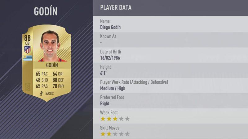 Диего Годин в FIFA 18