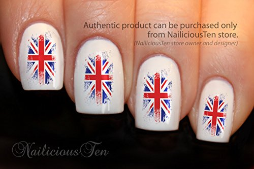 Rustic union jack british flag brush style nail art wraps prinsesfo Image collections