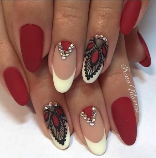 Maroon Nails With Art And Stones