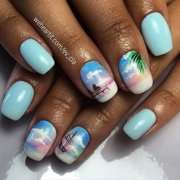 This Nail Art Is Only For Them The Images Look So Attractive Yet Calm And Quiet You Can Have Beautiful Vacation Designs Like