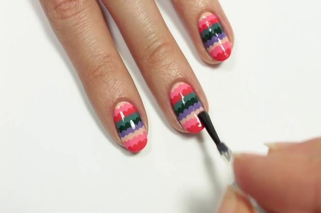 Apply Top Coat Tutorial Cute Scalloped Nail Art Design For