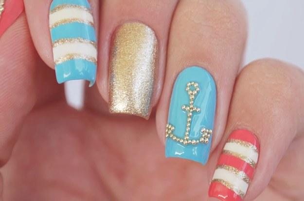 Diy Cute Nautical Nail Art Design Perfect For Summer