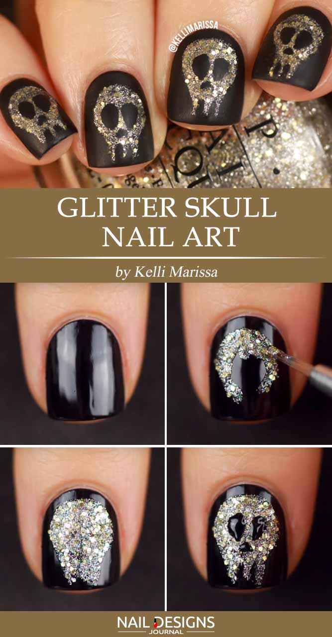 Glitter Skull Nail Art