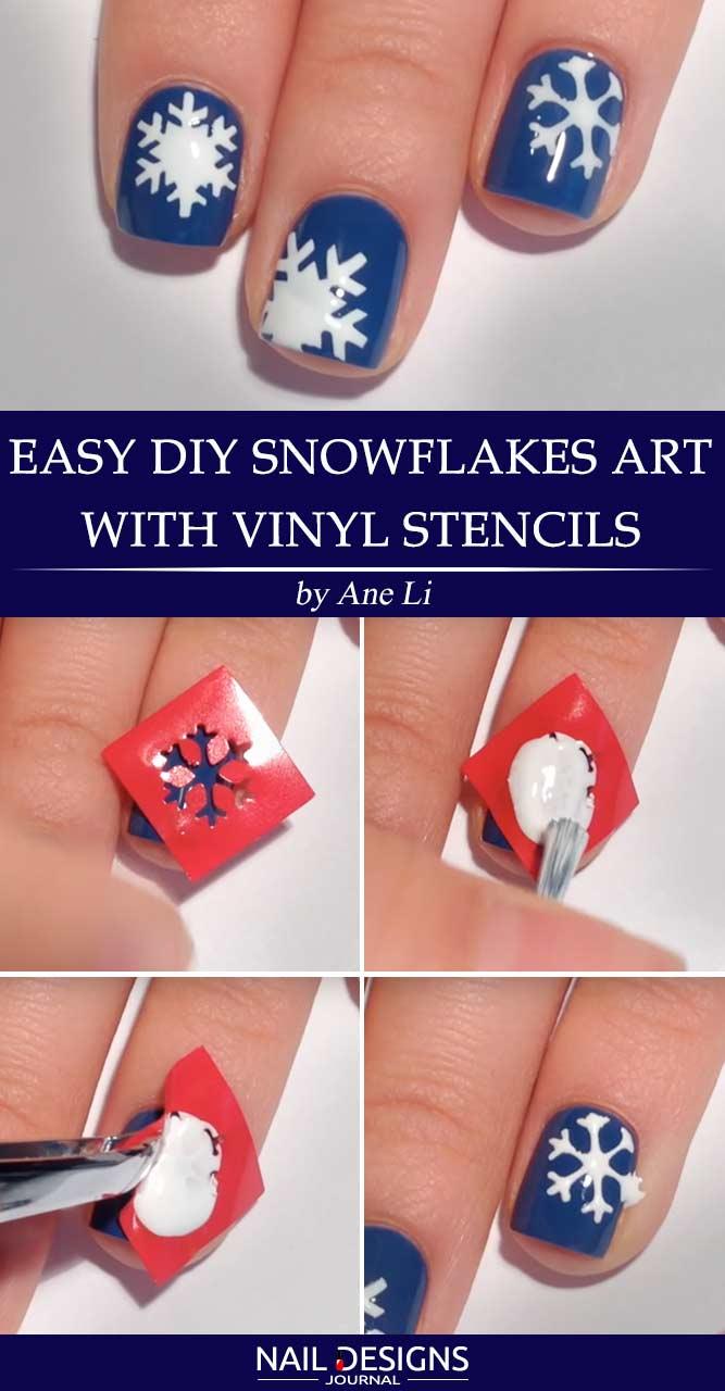 7 Easy Tutorials On Snowflake Nails Art Naildesignsjournal Diy Snowflakes With Vinyl Stencils Prinsesfo