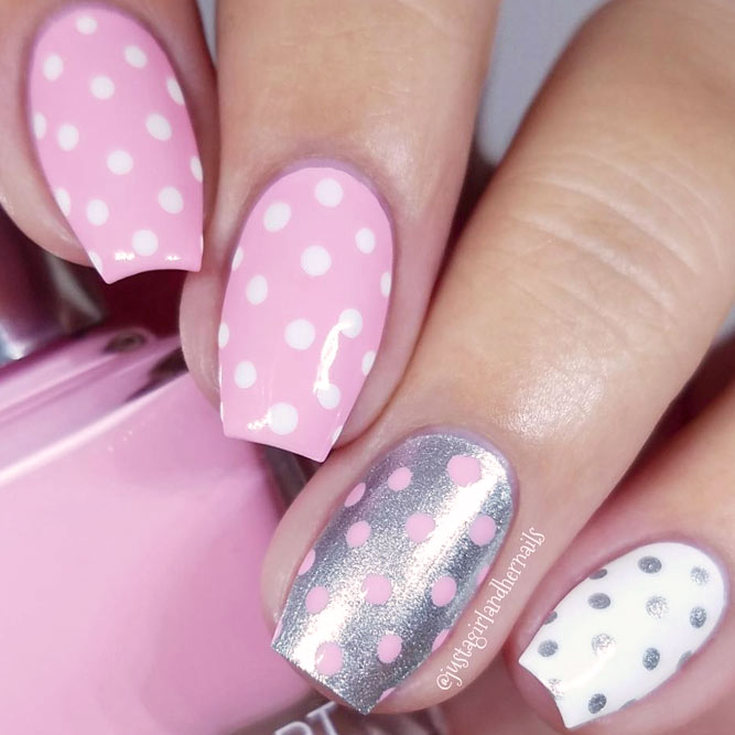 21 pink nails designs to look romantic and girly crazyforus cute pink dotted designs picture 1 prinsesfo Choice Image
