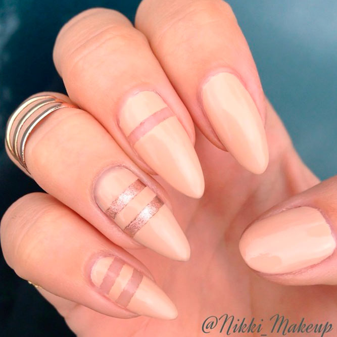 Striped Nail Designs With Rose Gold Accents picture 2
