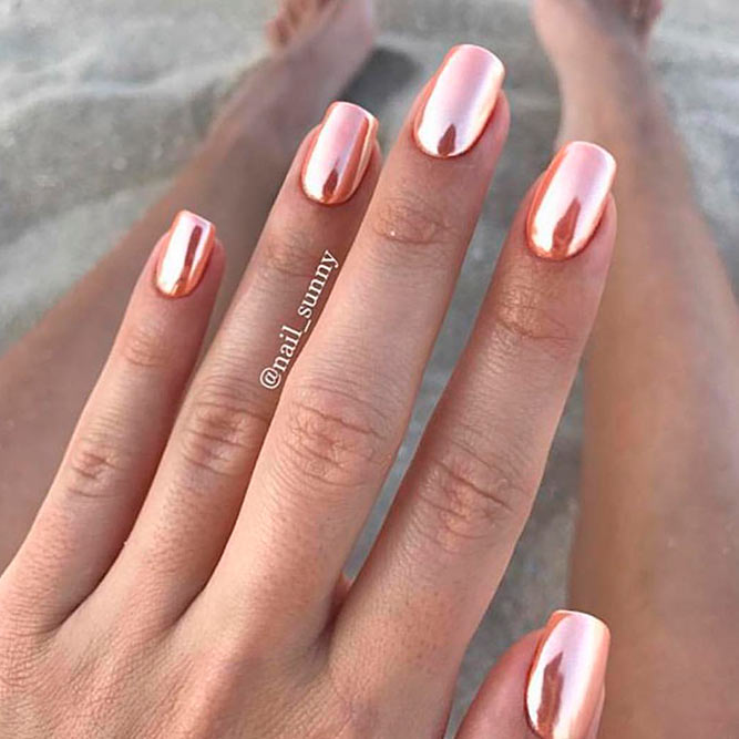Chrome Rose Gold Nails picture 1