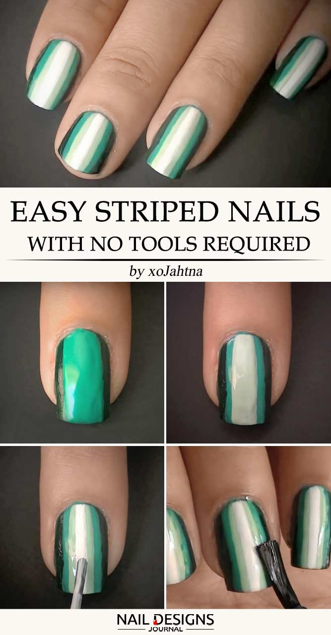 Easy Striped Nails With No Tools Required