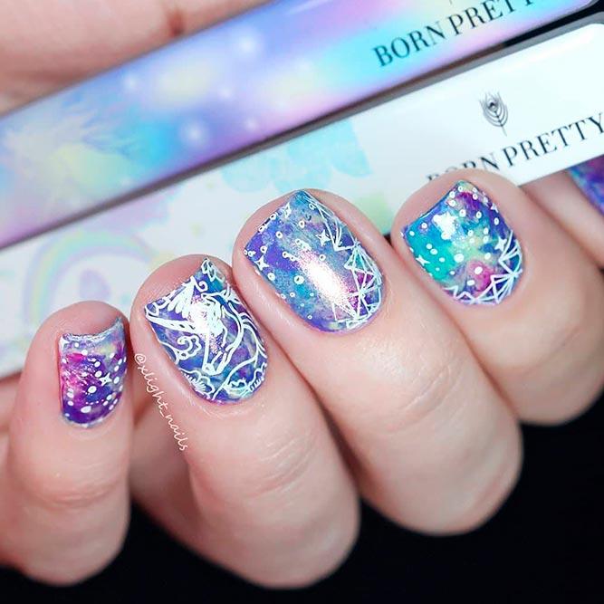 Galaxy Unicorn Nail Design #squarenails #stampingnails