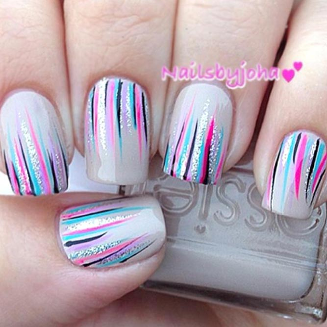 Grey Shade With Colorful Waterfall Nails