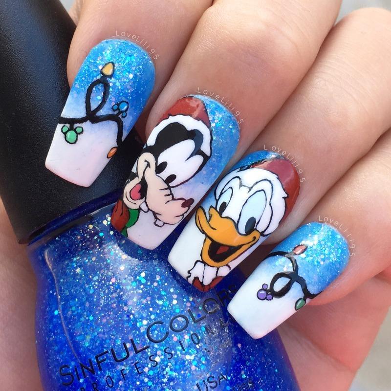 Goofy Amp Donald Christmas Nail Art By Iliana Chavez