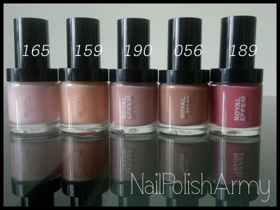 Royal Effem almost nude gradient nail polish colours