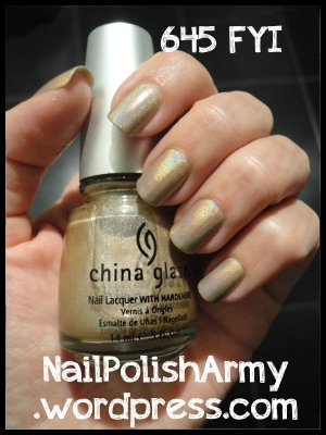 China Glaze olografico 645 FYI swatch alla luce artificiale