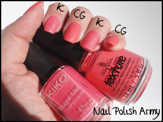 China-Glaze-texture-Itty-bitty-and-gritty-swatch-vs-Kiko-sugar-mat-641-rosa-fragola-strawberry-pink