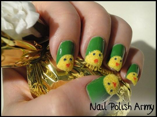 Easter-nail-art-pasqua-chicks-pulcini-flocking-powder-4