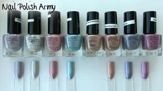 Perfect Holographic nail polish smalto linear holo H1 H2 H3 H4 H6 H7 H8 swatches